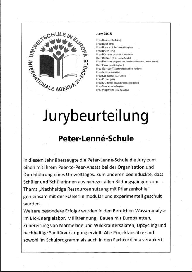 Auszeichnung Umweltschule Lenne